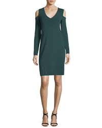 Nic Zoe Peeking Out Cold Shoulder Knit Dress Dark Emerald