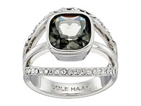Cole Haan Center Square Stone Pave Bar Ring Rhodium Black Diamond Crystal Ring Silver
