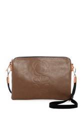 Orla Kiely Flower Stem Embossed Leather Travel Pouch Green
