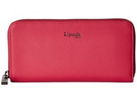 Lipault Paris Plume Elegance Leather Zip Around Wallet Tahiti Pink Wallet Handbags