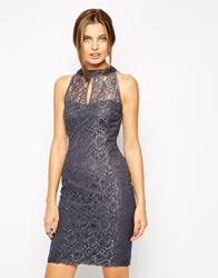 Jessica Wright Lilly High Neck Lace Dress Grey