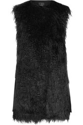 Theory Nyma Faux Shearling And Crepe Gilet Black