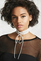 Forever 21 Lace Up Mesh Choker White