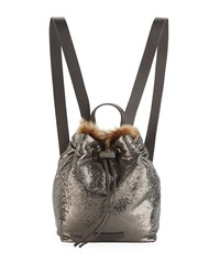 Brunello Cucinelli Broken Glass Effect Backpack With Shearling Fur Gray