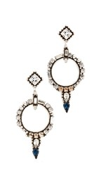 Dannijo Jolene Earrings Ox Silver Clear Blue