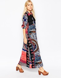 Liquorish Maxi Shirt Dress In Mixed Scarf Print Multi