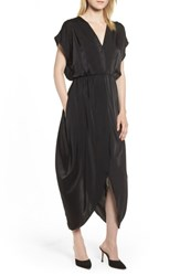 Halogen Faux Wrap Maxi Dress Black