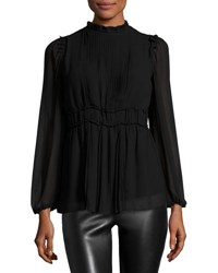 Max Studio Pleated Bell Sleeve Tunic Top Black