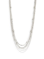 Saks Fifth Avenue Multi Chain Ball Bead Necklace Silver