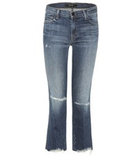 J Brand Selena Mid Rise Cropped Jeans Blue