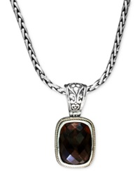 Effy Collection Balissima By Effy Smokey Quartz Rectangle Pendant 9 1 4 Ct. T.W. In 18K Gold And Sterling Silver