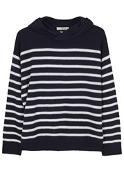 Vince Striped Hooded Cashmere Jumper Navy