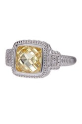 Judith Ripka Sterling Silver Cushion Canary Crystal And White Sapphire Ring Size 7 Yellow