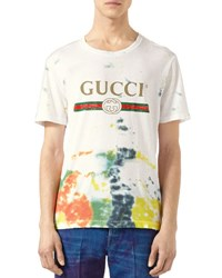 Gucci Cotton Tie Dye T Shirt With Print Beige