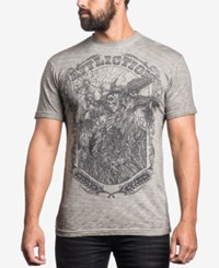 Affliction Men's Graphic Print T Shirt White Oil Stain