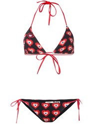 Fendi Heart Print Bikini Set Black
