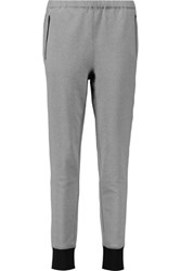Theory Covalent Cotton Blend Jersey Track Pants Gray