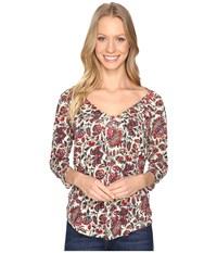 Lucky Brand Printed Pintuck Top Floral Print Women's Clothing Multi