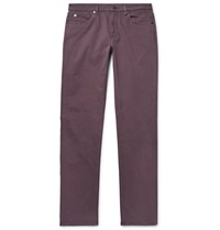 Ermenegildo Zegna Slim Fit Garment Dyed Stretch Cotton Trousers Grape