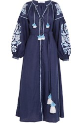 March11 Embroidered Linen Maxi Dress Blue