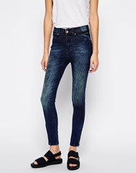 Dr. Denim Dr Denim Domino High Waist Skinny Jeans With Ankle Zips Darkwashblue