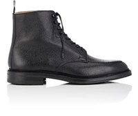 Crockett Jones And Men's Galway Grained Leather Boots Black