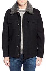 Men's Pendleton 'Boulder' Melton Wool Coat With Genuine Shearling Collar