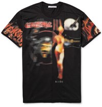 Givenchy Columbian Fit Distressed Printed Cotton Jersey T Shirt Black