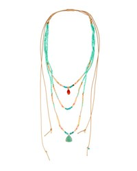 Nakamol Long Multi Row Adjustable Beaded Necklace Turquoise