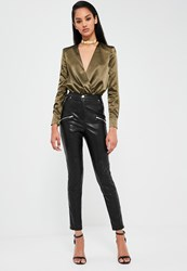 Missguided Black Faux Leather Trousers