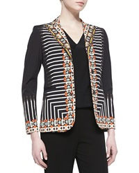 Etro 2 Button Tribal Striped Printed Jacket Black