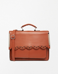 Asos Satchel Bag With Scallop Bar Detail And Punchout Conker