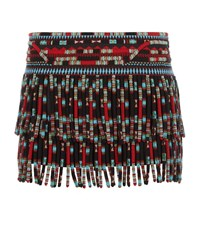 Valentino Beaded Fringe Mini Skirt Female Black