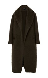 Paule Ka Wool Mohair Coat With Self Belt Metallic