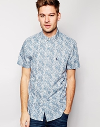 Jack Wills Shirt With Paisley Print Slim Fit Short Sleeves Blue