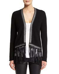 Zadig And Voltaire Marla Open Front Fringe Cashmere Sweater Noir