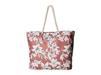 Roxy Tropical Vibe Printed Beach Bag Withered Rose Lily House Tote Handbags Multi