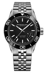 Raymond Weil Freelancer Diver Automatic Bracelet Strap Watch 43Mm Silver Black