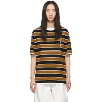 Givenchy Tan And Black Striped Knitted T Shirt