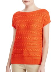 Lauren Ralph Lauren Petite Cable Knit Bateau Neck Top Sunset Orange