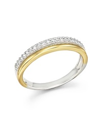 Bloomingdale's Diamond Double Row Band Ring In 14K Yellow And White Gold .12 Ct.T.W.