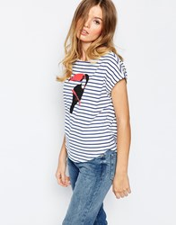 People Tree Fairtrade Cotton Bretton Stripe T Shirt With Toucan Motif Multi