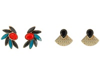 Guess Duo Earrings Set With Cluster Button And Front To Back Stud Jet Gold Coral Blue Earring Multi