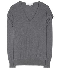 Stella Mccartney Ruffled Virgin Wool Sweater Grey