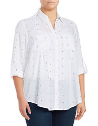 Lord And Taylor Plus Stitch Design Cotton Shirt Blue