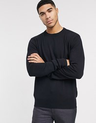Bench Knitted Crew Neck Jumper In Navy Black