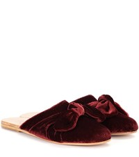 Ancient Greek Sandals Pasoumi Bow Velvet Slippers Red