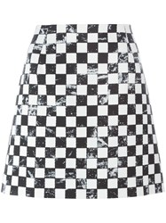 Marc Jacobs Checkerboard Print A Line Skirt Black