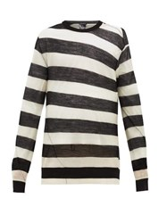 Ann Demeulemeester Curved Seam Striped Wool Sweater Black White