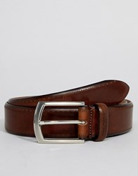 Ted Baker Lillies Brogue Belt In Burnished Leather Tan